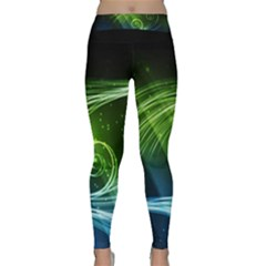 Abstract Blue Green Shiny  Classic Yoga Leggings by amphoto