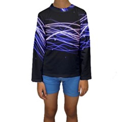 Abstraction Colorful Lines Dark  Kids  Long Sleeve Swimwear by amphoto