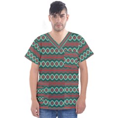 Ethnic Geometric Pattern Men s V Neck Scrub Top by linceazul