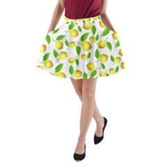 Lemon Pattern A Line Pocket Skirt