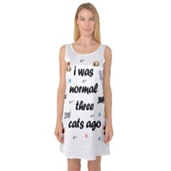I Was Normal Three Cats Ago Sleeveless Satin Nightdress
