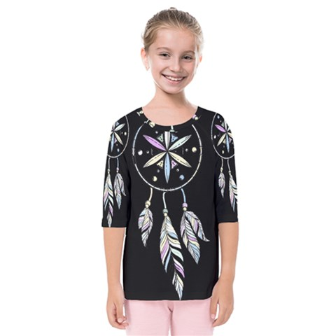 Dreamcatcher  Kids  Quarter Sleeve Raglan Tee by Valentinaart