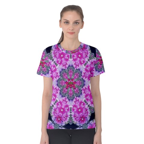 Fantasy Cherry Flower Mandala Pop Art Women s Cotton Tee by pepitasart