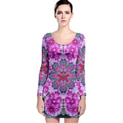 Fantasy Cherry Flower Mandala Pop Art Long Sleeve Bodycon Dress by pepitasart