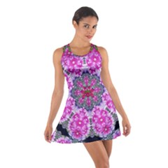 Fantasy Cherry Flower Mandala Pop Art Cotton Racerback Dress by pepitasart