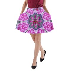 Fantasy Cherry Flower Mandala Pop Art A Line Pocket Skirt by pepitasart