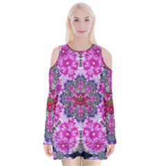 Fantasy Cherry Flower Mandala Pop Art Velvet Long Sleeve Shoulder Cutout Dress by pepitasart