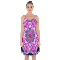 Fantasy Cherry Flower Mandala Pop Art Ruffle Detail Chiffon Dress by pepitasart