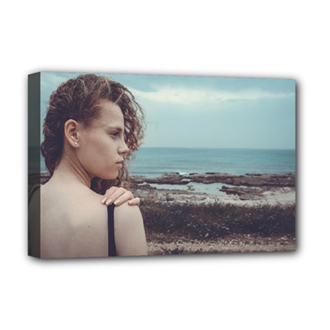 Girl & The Sea Deluxe Canvas 18  X 12   by amphoto