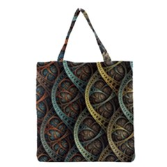 Line Semi Circle Background Patterns  Grocery Tote Bag by amphoto