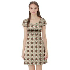 Native American Pattern Short Sleeve Skater Dress by linceazul