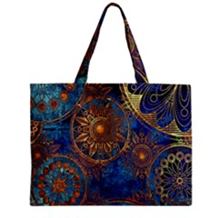 Abstract Pattern Gold And Blue Zipper Mini Tote Bag