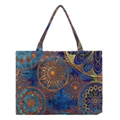 Abstract Pattern Gold And Blue Medium Tote Bag by amphoto