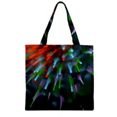 Explosion Rays Fractal Colorful Fibers Zipper Grocery Tote Bag by amphoto