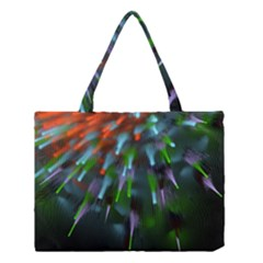 Explosion Rays Fractal Colorful Fibers Medium Tote Bag by amphoto