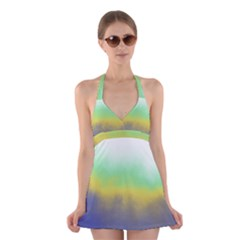 Ombre Halter Swimsuit Dress