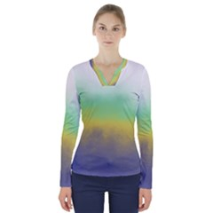 Ombre V Neck Long Sleeve Top