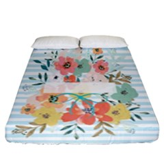 Watercolor Bouquet Floral White Fitted Sheet (king Size)