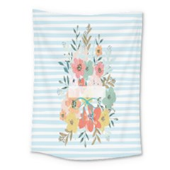 Watercolor Bouquet Floral White Medium Tapestry
