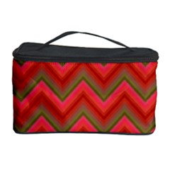 Background Retro Red Zigzag Cosmetic Storage Case by Nexatart