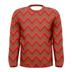 Background Retro Red Zigzag Men s Long Sleeve Tee