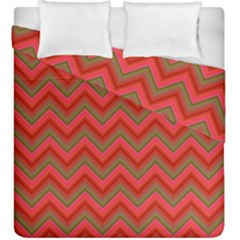 Background Retro Red Zigzag Duvet Cover Double Side (king Size)