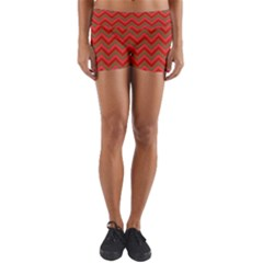 Background Retro Red Zigzag Yoga Shorts