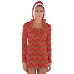 Background Retro Red Zigzag Long Sleeve Hooded T-shirt by Nexatart