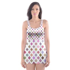 Pattern Square Background Diagonal Skater Dress Swimsuit