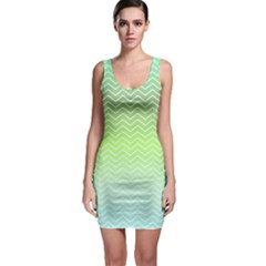 Green Line Zigzag Pattern Chevron Bodycon Dress by Nexatart
