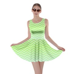 Green Line Zigzag Pattern Chevron Skater Dress