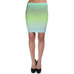 Green Line Zigzag Pattern Chevron Bodycon Skirt by Nexatart