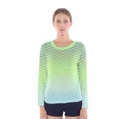 Green Line Zigzag Pattern Chevron Women s Long Sleeve Tee by Nexatart