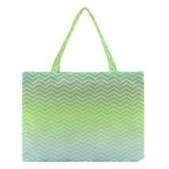 Green Line Zigzag Pattern Chevron Medium Tote Bag by Nexatart