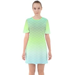 Green Line Zigzag Pattern Chevron Mini Dress