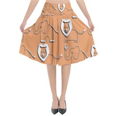 Lion Pattern Wallpaper Vector Flared Midi Skirt
