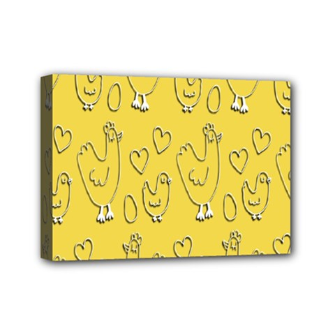 Chicken Chick Pattern Wallpaper Mini Canvas 7  X 5