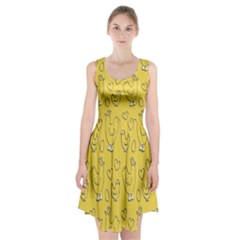 Chicken Chick Pattern Wallpaper Racerback Midi Dress