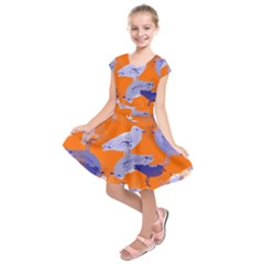 Seagull Gulls Coastal Bird Bird Kids  Short Sleeve Dress