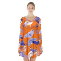 Seagull Gulls Coastal Bird Bird Long Sleeve Velvet V Neck Dress
