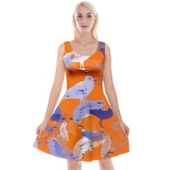 Seagull Gulls Coastal Bird Bird Reversible Velvet Sleeveless Dress