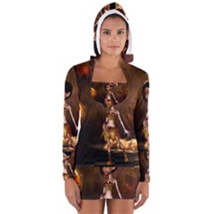 Steampunk, Cute Little Steampunk Girl In The Night With Clocks Long Sleeve Hooded T Shirt by FantasyWorld7