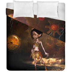 Steampunk, Cute Little Steampunk Girl In The Night With Clocks Duvet Cover Double Side (california King Size) by FantasyWorld7