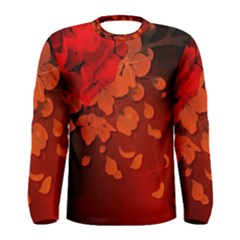 Cherry Blossom, Red Colors Men s Long Sleeve Tee by FantasyWorld7