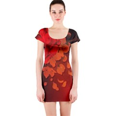 Cherry Blossom, Red Colors Short Sleeve Bodycon Dress by FantasyWorld7