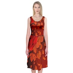 Cherry Blossom, Red Colors Midi Sleeveless Dress by FantasyWorld7