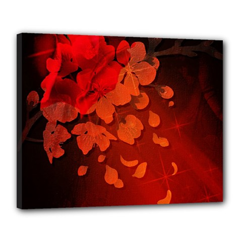 Cherry Blossom, Red Colors Canvas 20  X 16  by FantasyWorld7