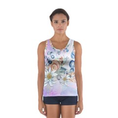 Snail And Waterlily, Watercolor Sport Tank Top  by FantasyWorld7