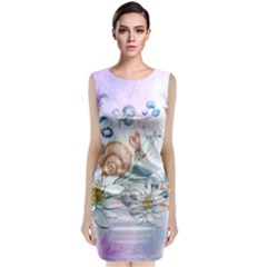 Snail And Waterlily, Watercolor Sleeveless Velvet Midi Dress