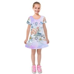 Snail And Waterlily, Watercolor Kids  Short Sleeve Velvet Dress by FantasyWorld7